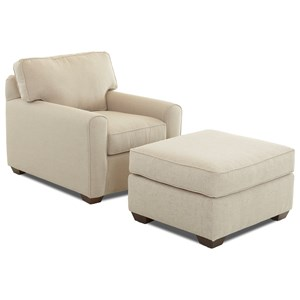 Casual Stationary Chair and Ottoman Set