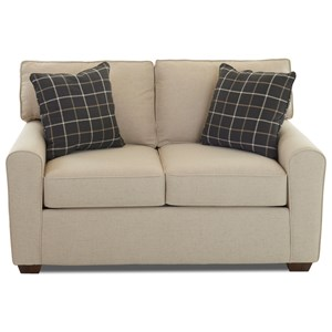 Casual Stationary Loveseat with Box Cushions