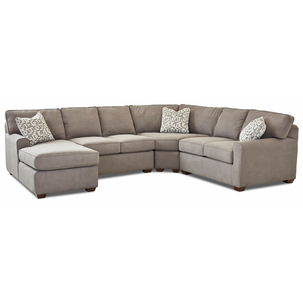 Hybrid 4 Pc Sectional Sofa w/LAF Chaise by Klaussner at Johnny Janosik