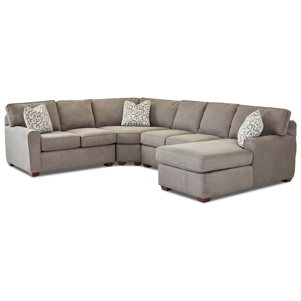 Hybrid 4 Pc Sectional Sofa w/RAF Chaise by Klaussner at Johnny Janosik
