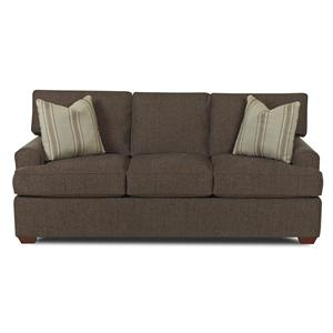 Casual Stationary Sofa with Arched Track Arms and T Cushion