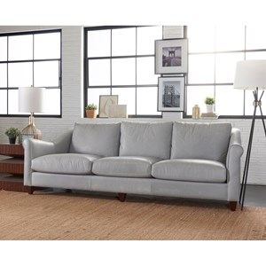 Transitional Sofa with Rolled Arms and Exposed Wood Legs