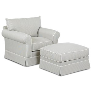 Transitional Skirted Chair and Ottoman Set