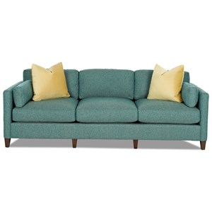 Contemporary Tuxedo Back Sofa with Bolster Pillows and Toss Pillows
