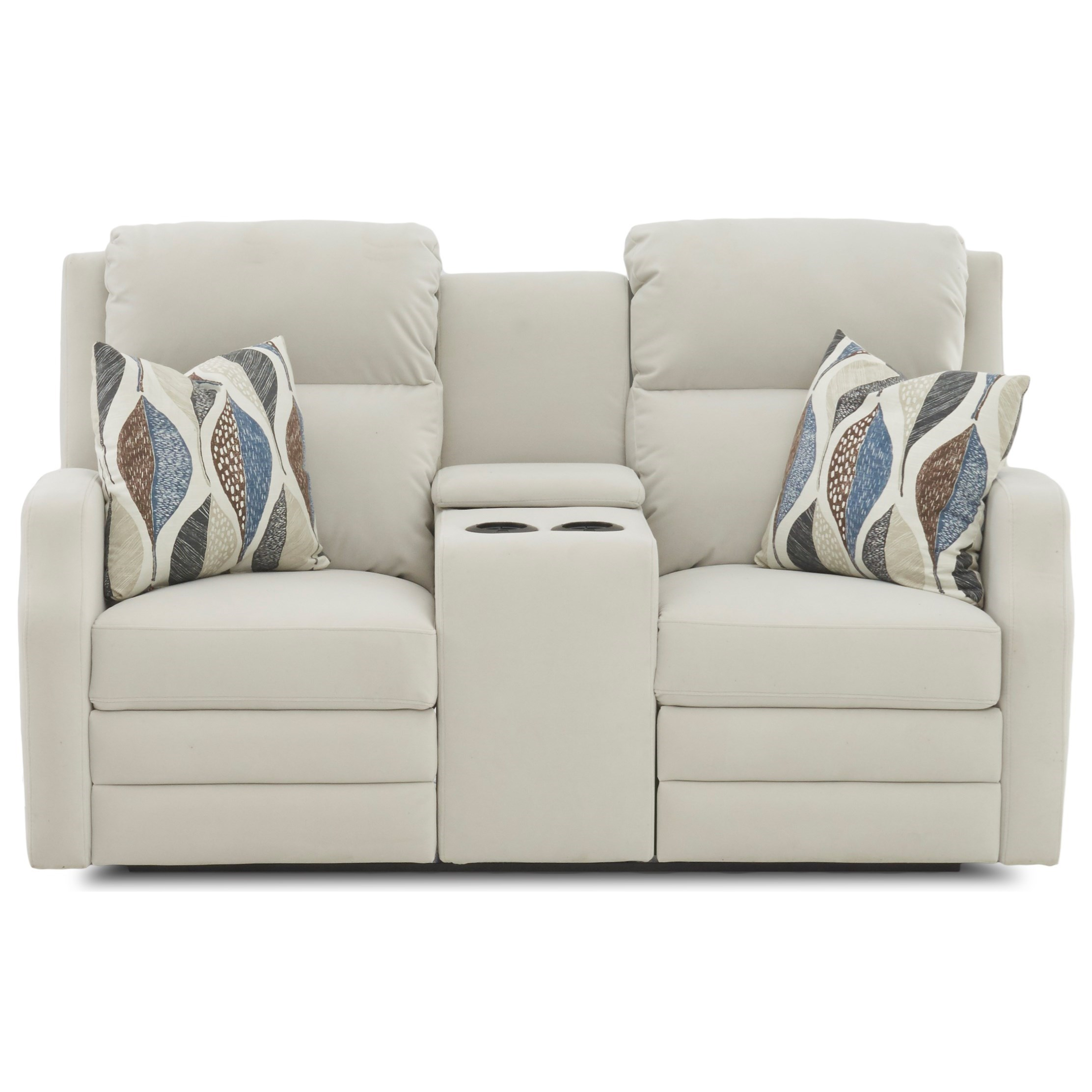 Kamiah Pwr Console Recl Love w/ Pillows Pwr Head by Klaussner at Catalog Outlet