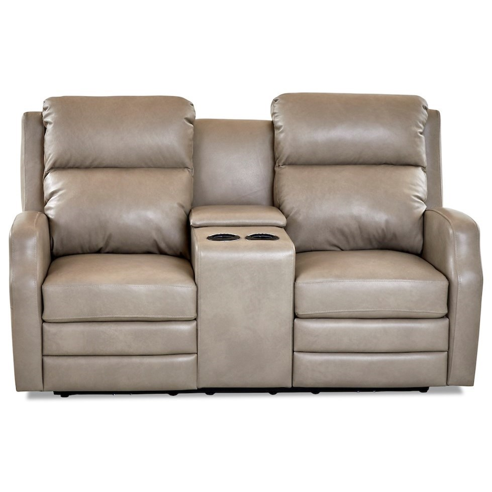 Kamiah Pwr Console Recline Love w/ Pwr Head & Massg by Klaussner at Hudson's Furniture
