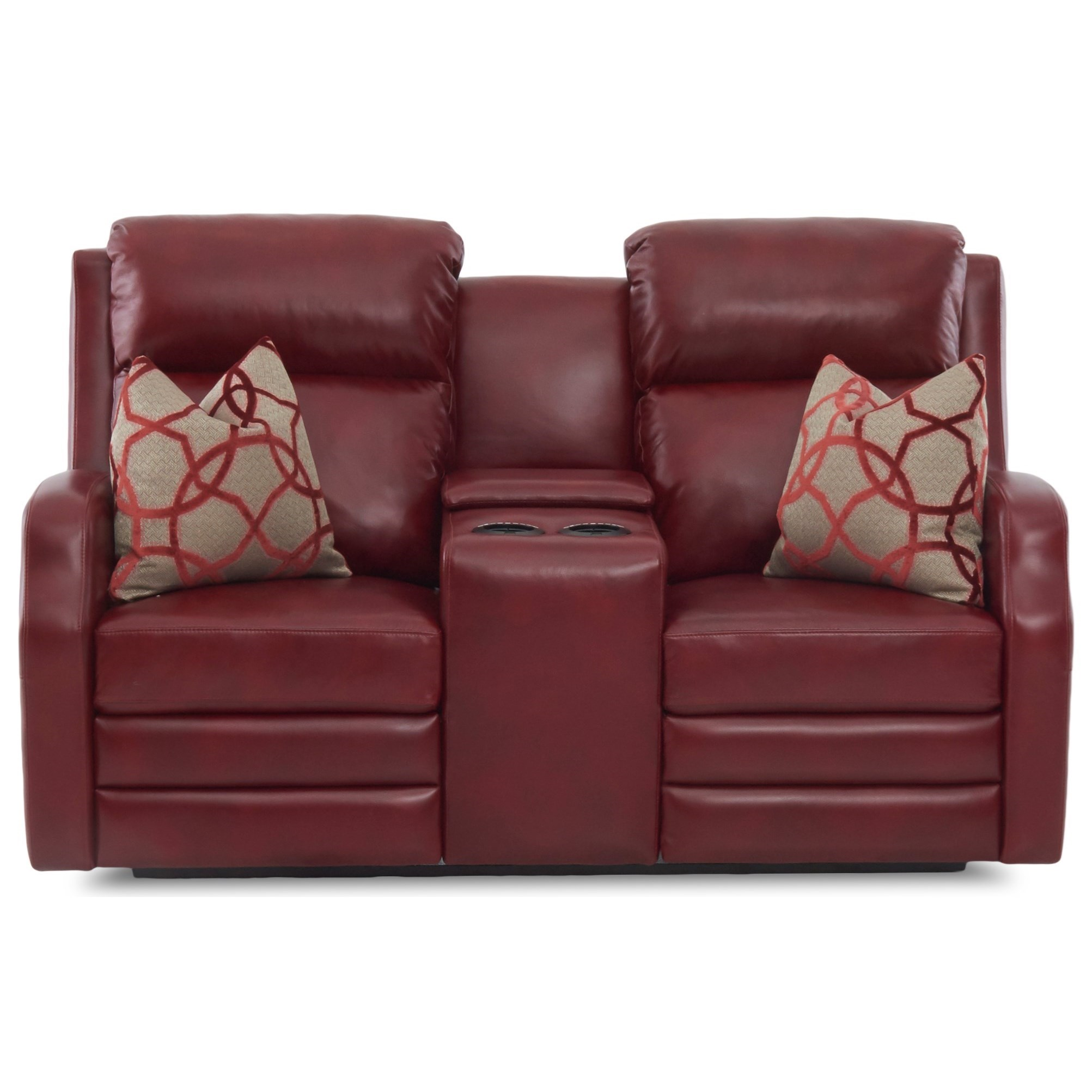 Kamiah Pwr Console Recl Love w/ Pillows Pwr Head by Klaussner at Lapeer Furniture & Mattress Center
