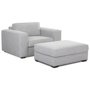 Contemporary Big Chair & Ottoman with Down-Blend Cushions