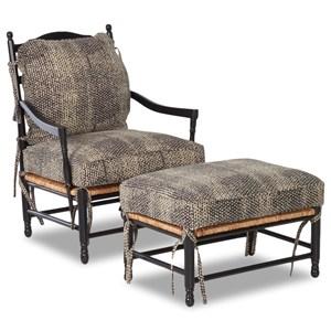 Homespun Accent Chair and Ottoman Set