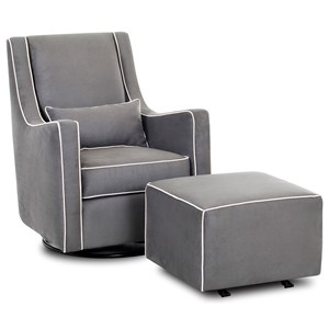 Contemporary Lacey Swivel Glider Chair and Ottoman Set