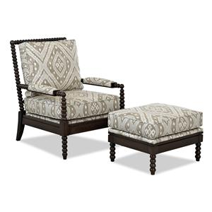 Klaussner Chairs and Accents Rocco Chair and Ottoman