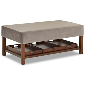 Rectangular Storage Ottoman with Three Removable Trays