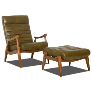 Hans Mid-Century Modern Chair and Ottoman with Exposed Wood Frame