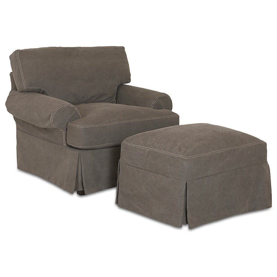 Lahoya Slipcover Chair &  Ottoman Set by Klaussner at Johnny Janosik