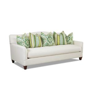 Contemporary Stationary Sofa with Bench Seat Cushion and Camel Back