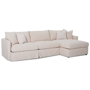 2 Pc Sectional Sofa with Slipcover and RAF Chaise