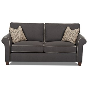 Transitional 84 Inch Sofa with Contrast Welts and Down Blend Cushions