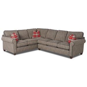 Transitional 2-Piece Sectional Sofa with Down Blend Cushions and Contrast Welts