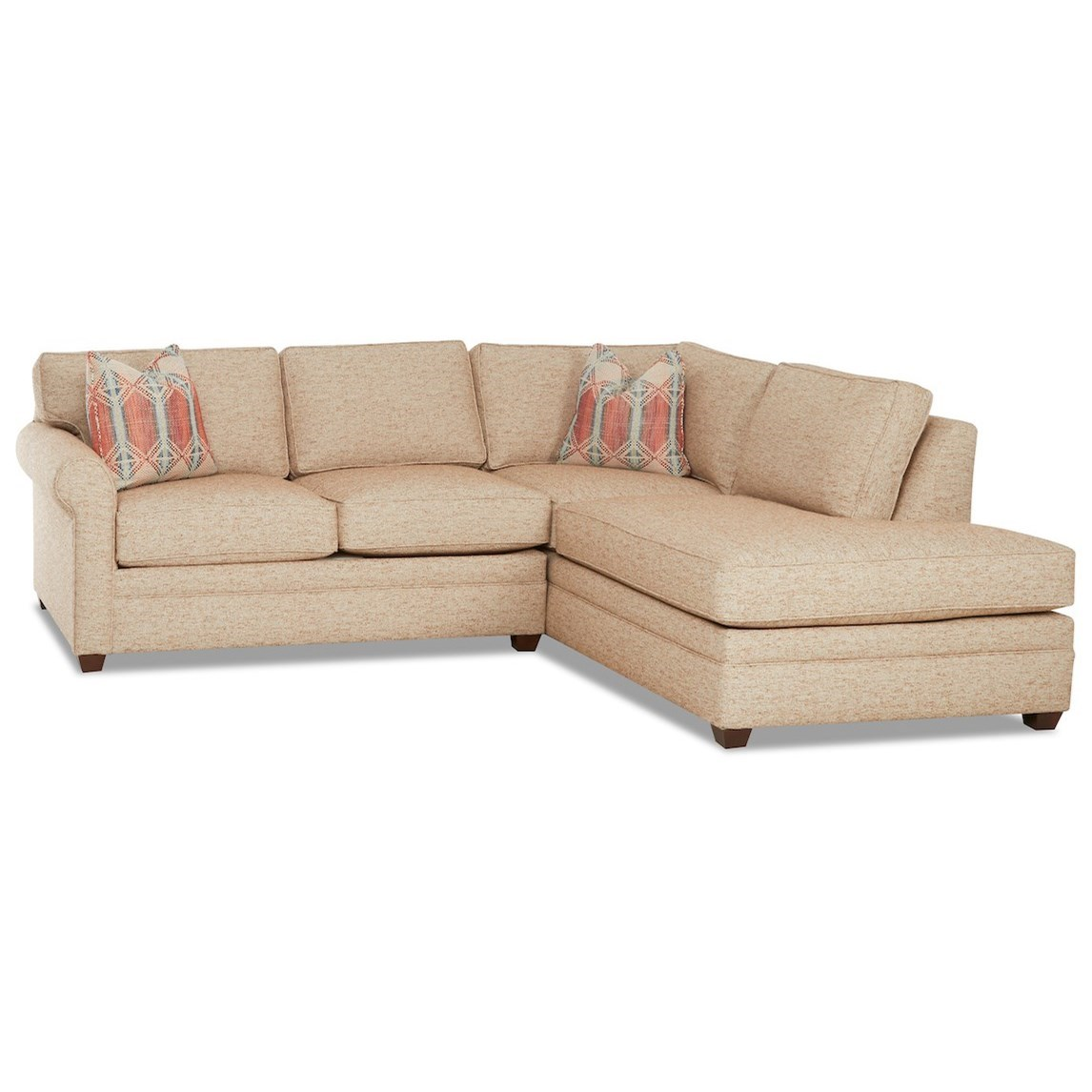 Living Your Way 2-Piece Sectional Sofa w/ RAF Sofa Chaise by Klaussner at Johnny Janosik