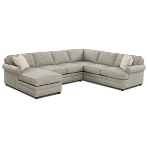 Casual 3-Piece Rolled Arm Sectional with Left-Facing Chaise