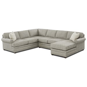 Casual 3-Piece Rolled Arm Sectional with Right-Facing Chaise