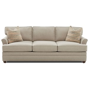 Transitional Flared Arm Sofa with Air Coil Mattress