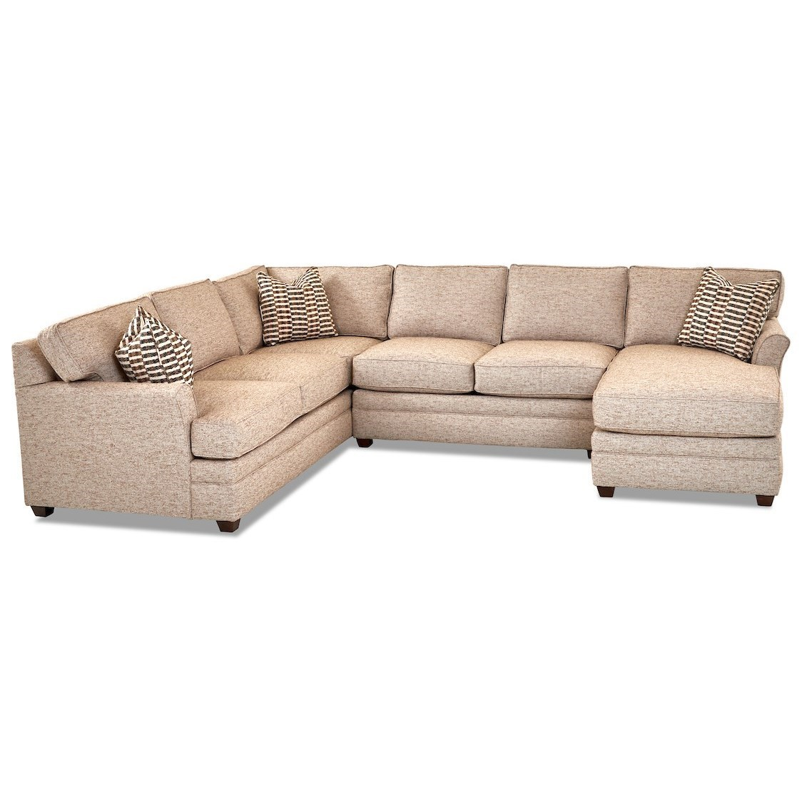 Living Your Way 3-Piece Sectional Sofa w/ RAF Chaise by Klaussner at Johnny Janosik