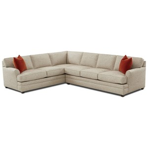 Transitional Flare Arm 2-Piece Sectional with Left-Facing Corner Sofa