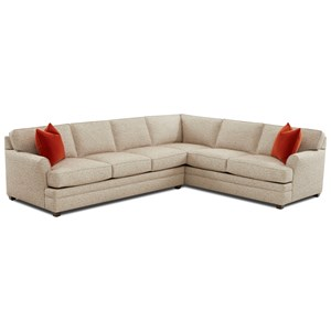 Transitional Flare Arm 2-Piece Sectional with Right-Facing Corner Sofa