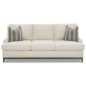 Contemporary Sofa with Wood Base