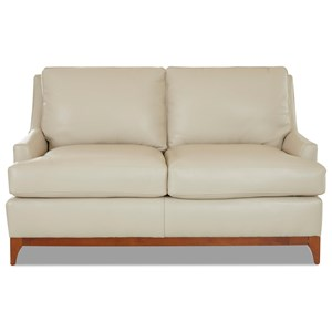Contemporary Loveseat with Wood Base