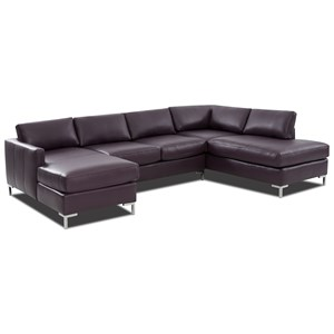 Contemporary 4-Seat U-Shape Sectional Sofa with RAF Sofa Chaise