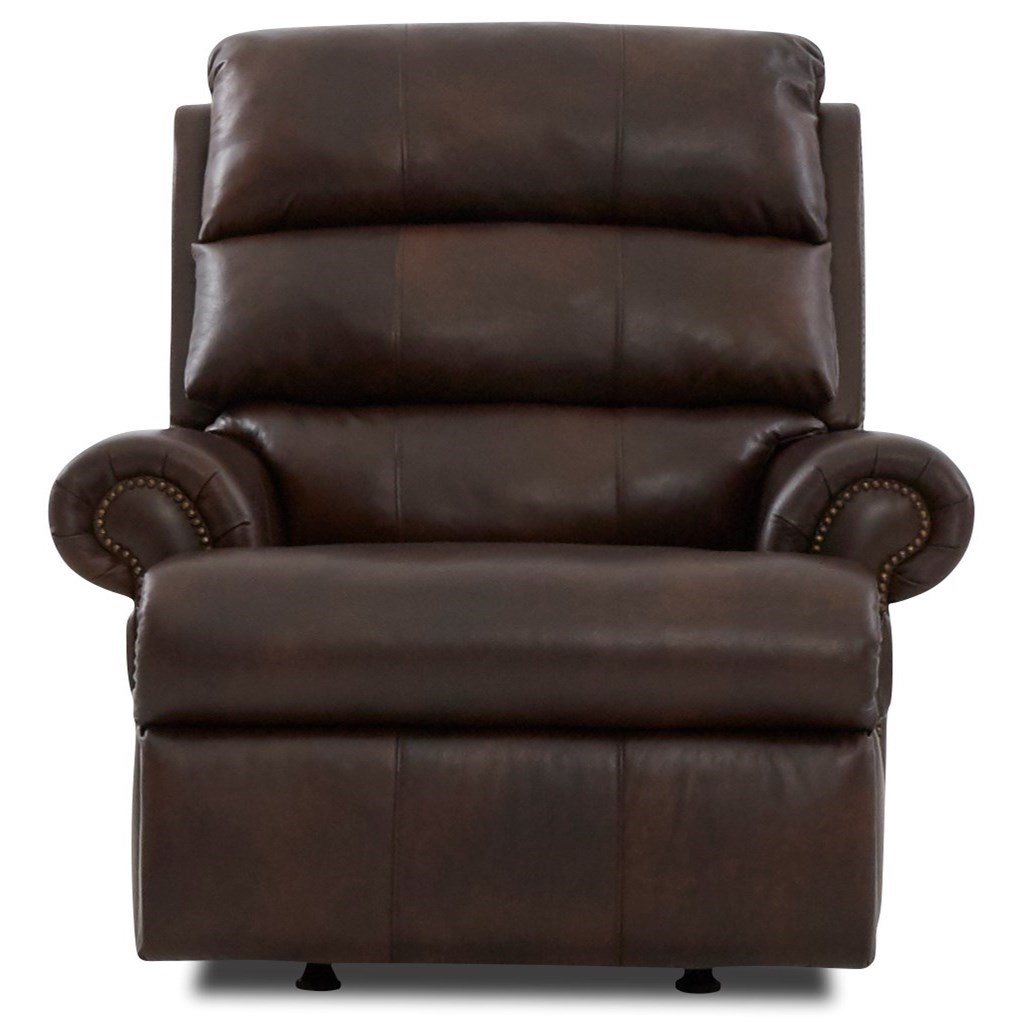 Maximus Pwr Rock Recliner w/ Nailheads & Pwr Head  by Klaussner at Johnny Janosik