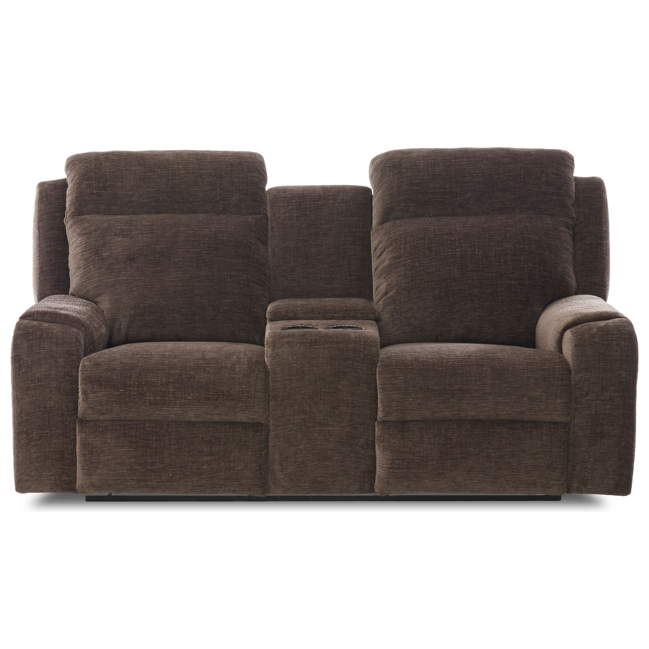 Merlin Power Reclining Love w/ Console & Pwr Head by Klaussner at Lapeer Furniture & Mattress Center
