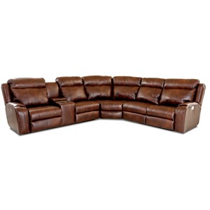 Four Seat Power Reclining Sectional Sofa with Cupholder Storage Console and USB Charging Ports