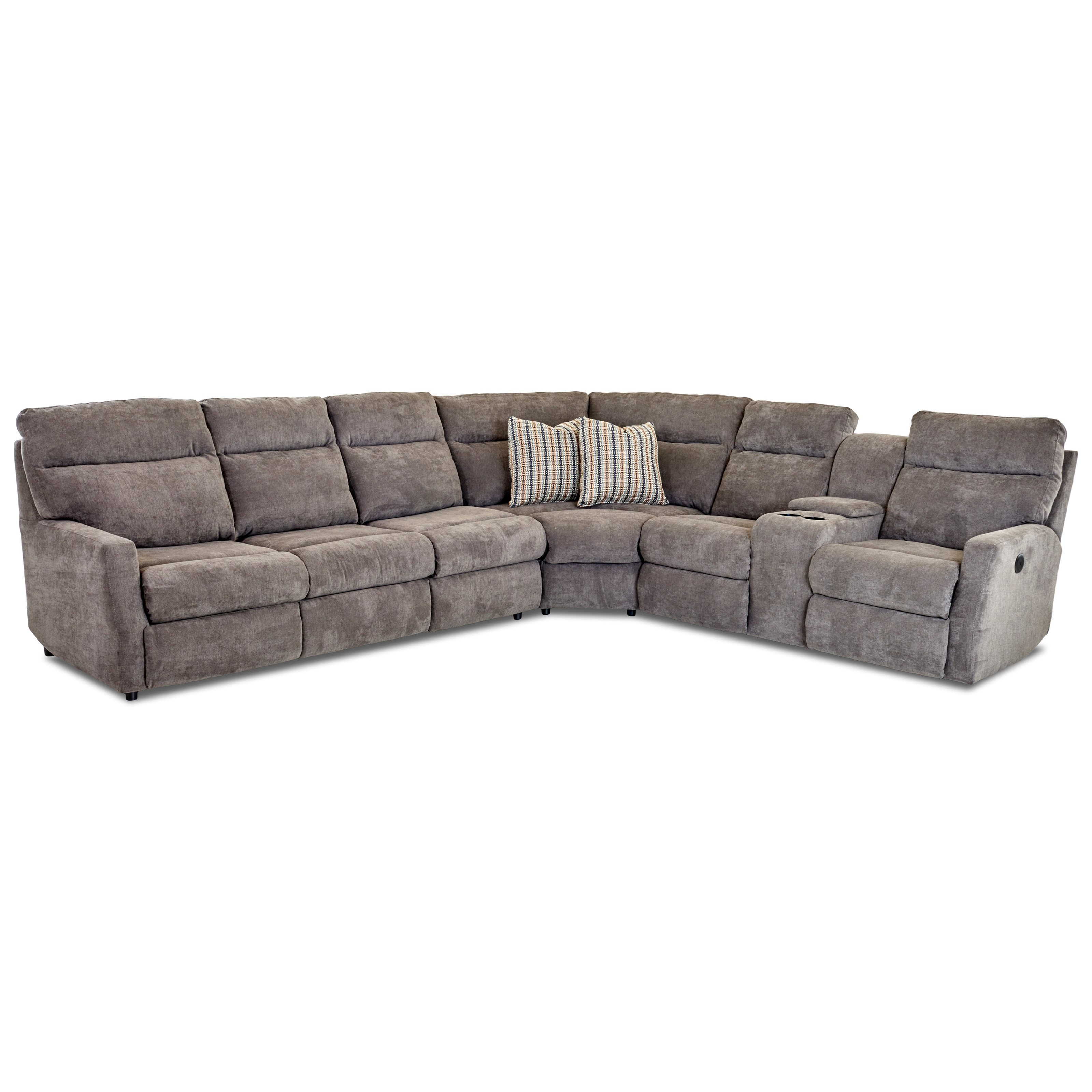Daphne 5-Seat Reclining Sectional w/  LAF Sleeper by Klaussner at Johnny Janosik