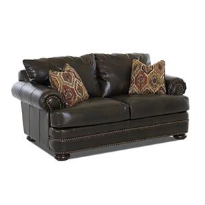 Leather Loveseat with Rolled Arms