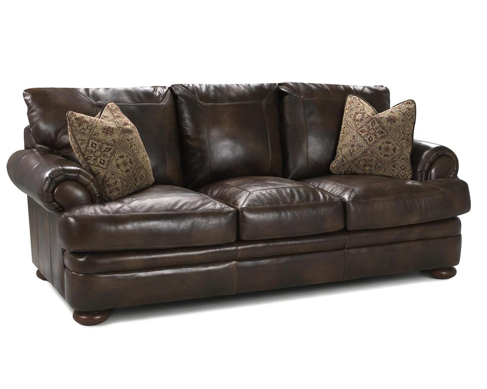 Montezuma Leather Studio Sofa by Klaussner at Northeast Factory Direct