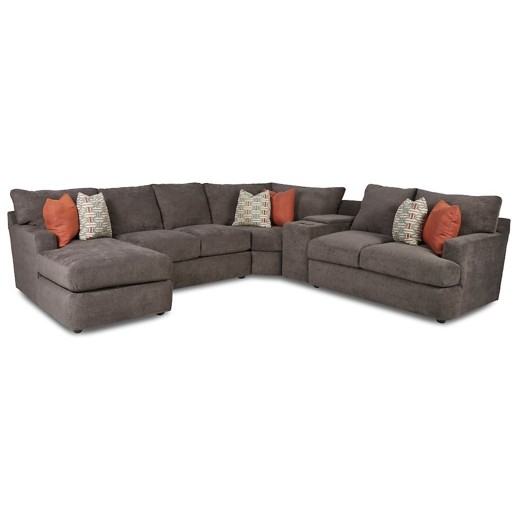 Oliver 5-Seat Sectional Sofa w/Cupholders & LAF CHS by Klaussner at Northeast Factory Direct