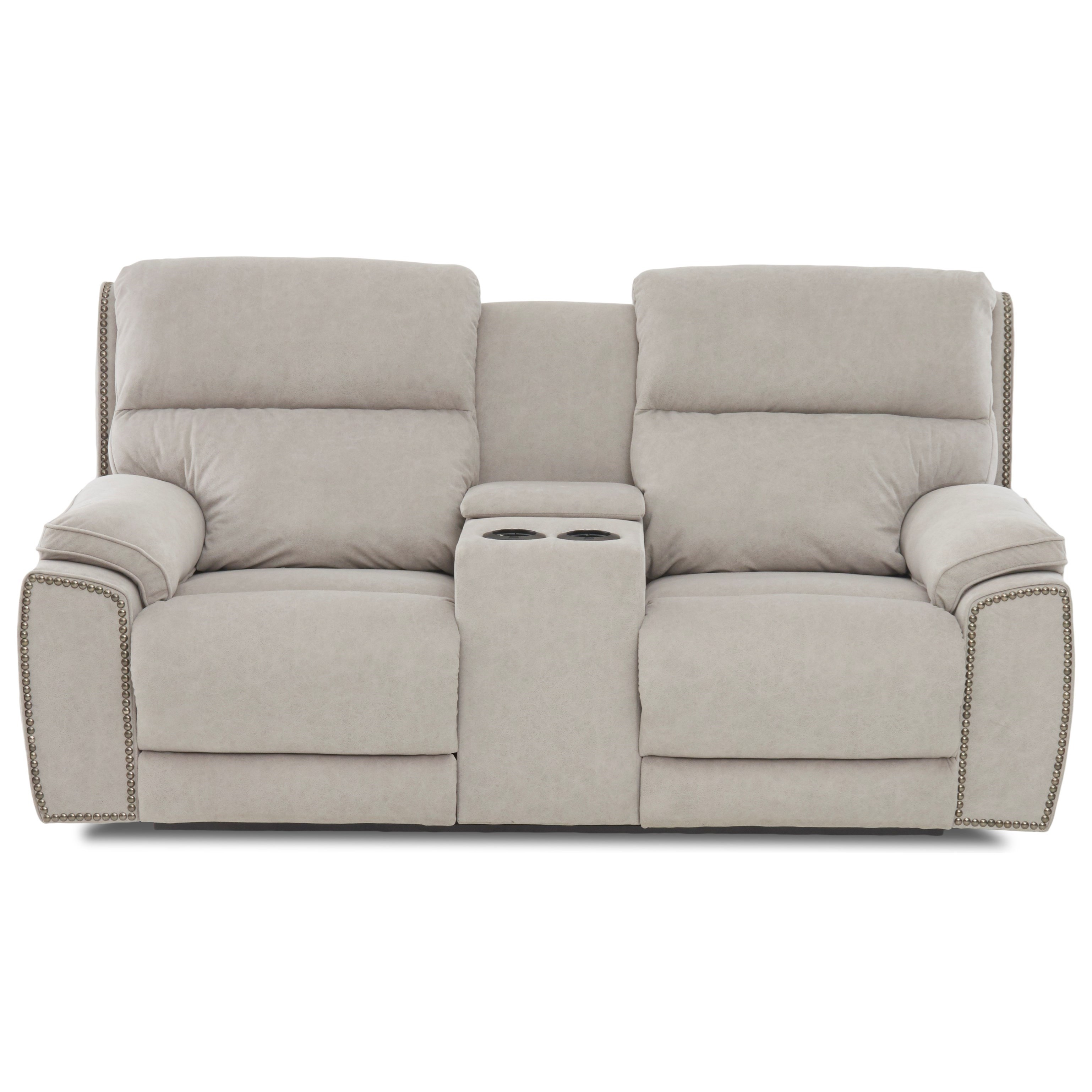 Omaha Power Console Reclining Loveseat w/ Nails by Klaussner at Northeast Factory Direct