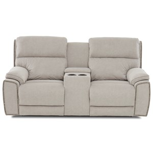 Power Reclining Nailhead Console Loveseat with Power Head/Lumbar and USB Charging Ports