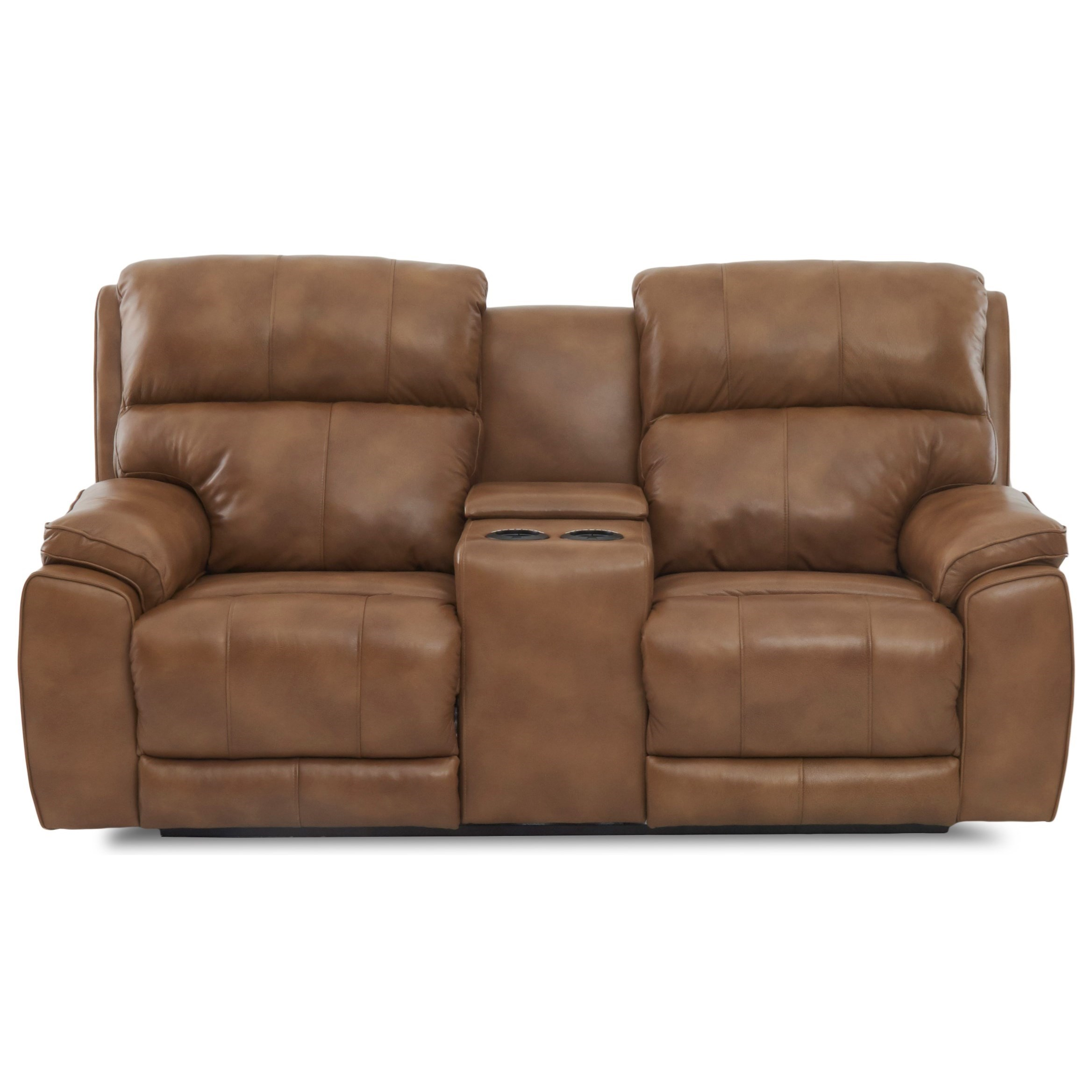 Omaha Power Console Reclining Love w/ Pwr Head by Klaussner at Catalog Outlet
