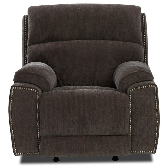 Omaha Swivel Rocking Reclining Chair w/ Nails by Klaussner at Northeast Factory Direct