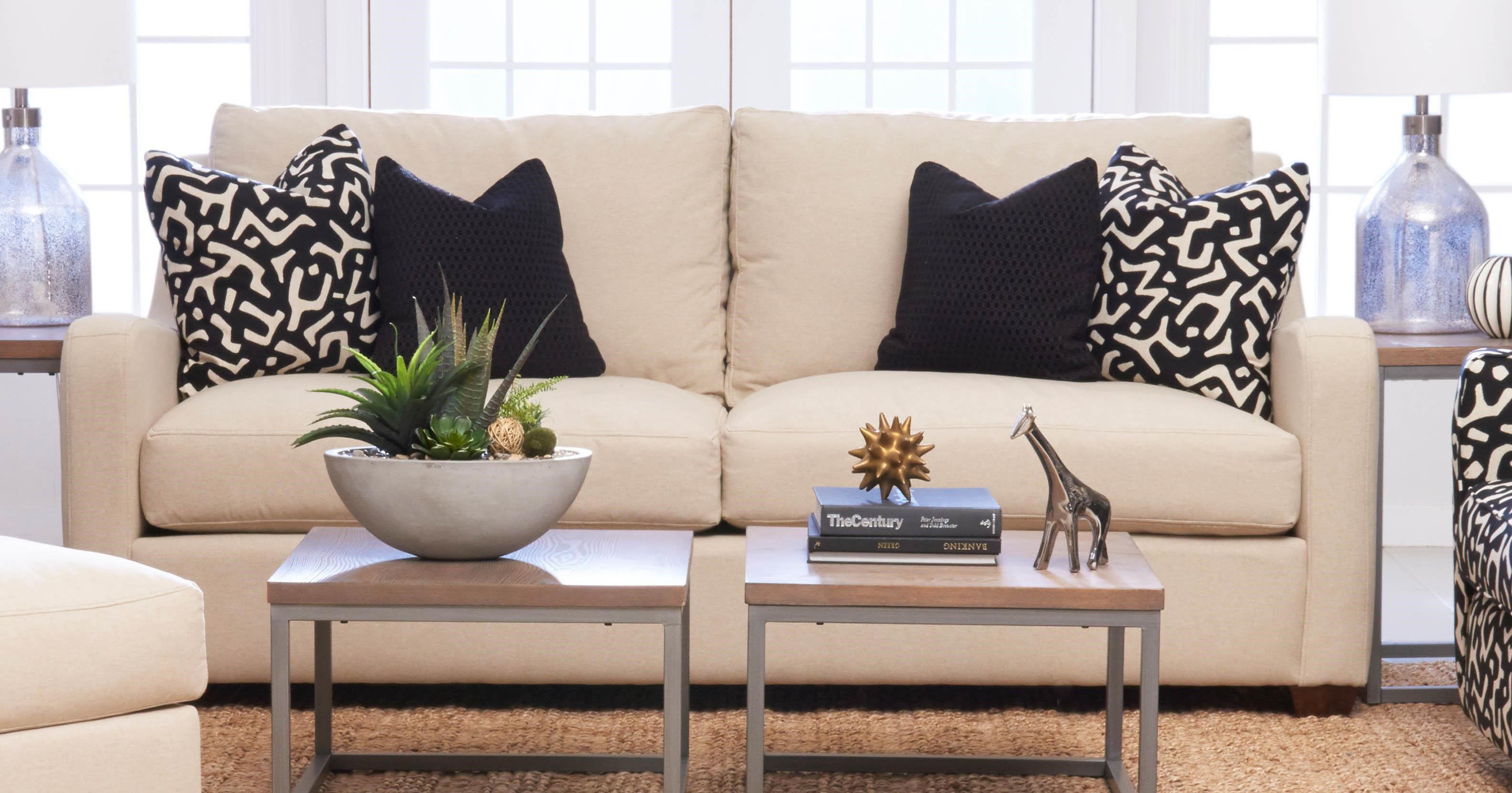 Transitional Stationary Sofa with Track Arms