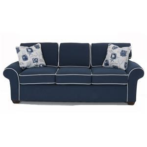 Sofa with Rolled Arms and Exposed Wood Feet