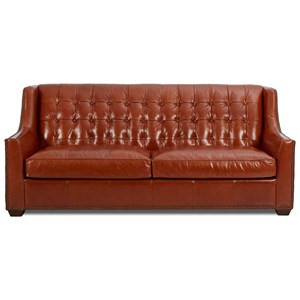 Transitional Leather Sofa with Button Tufting