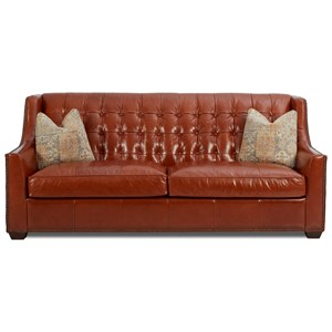 Transitional Leather Sofa with Button Tufting and Fabric Pillows