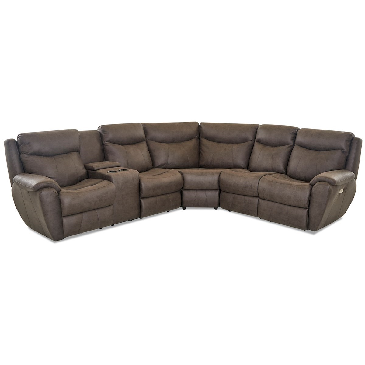 Proximo Pwr Recline Sectional w/ LAF Cnsl & Pwr Head by Klaussner at Northeast Factory Direct