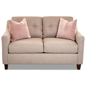 Contemporary Loveseat with Tufted Loose Back Cushions