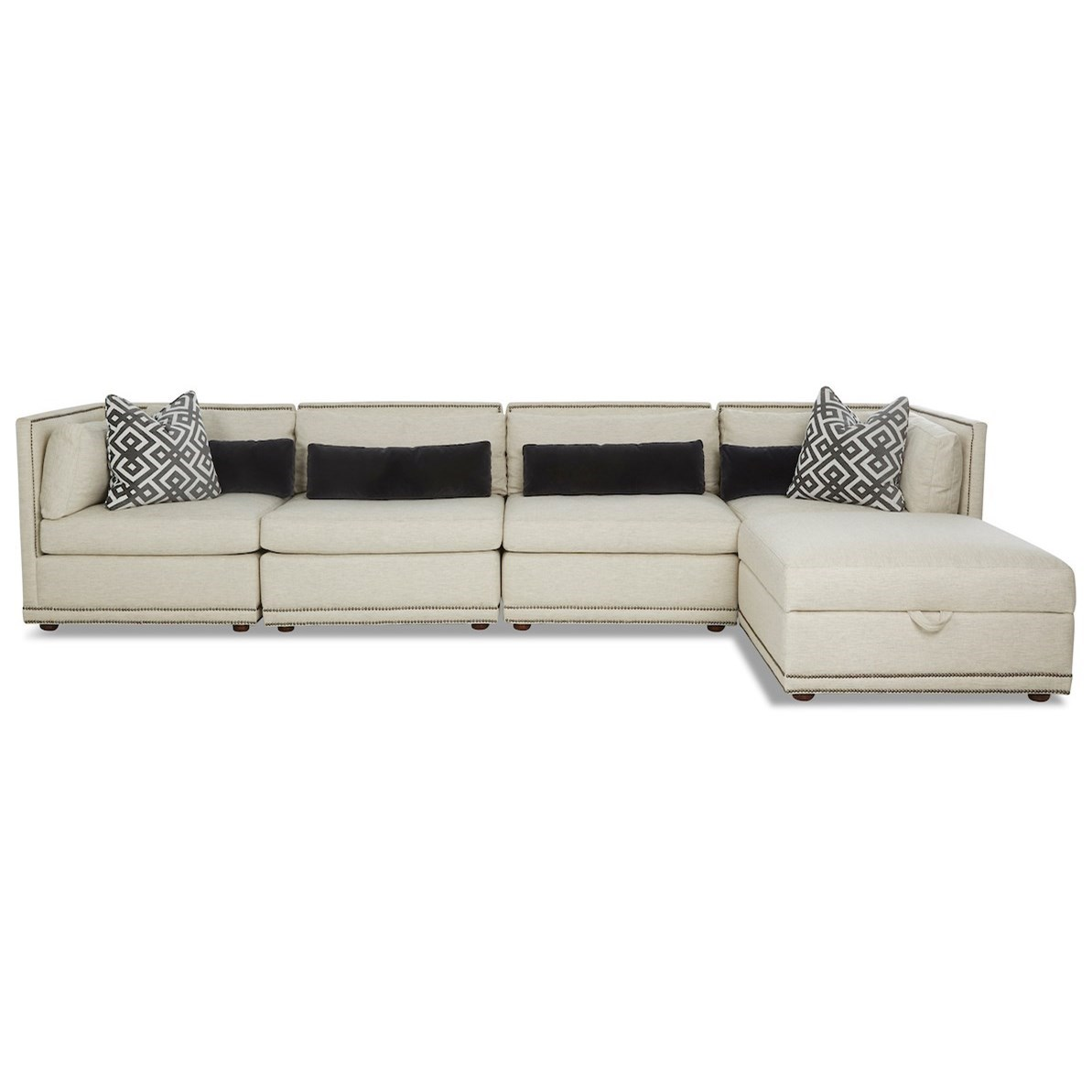 Rexford 5-Seat Sectional Chaise Sofa by Klaussner at Van Hill Furniture